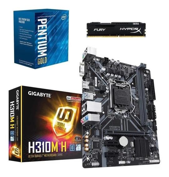 Kit 8ª Pentium G5400 + H310m H + 8gb2666 Fury + Ssd 120