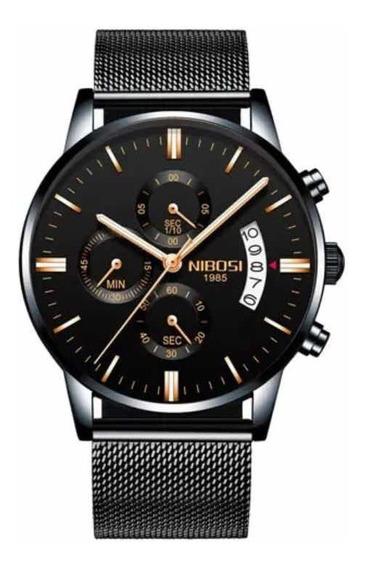Relógio Masculino Nibosi 2309 Gold Luxo Esporte Original