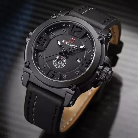Relógio Masculino Militar Esportiv Naviforce Pulseira Couro
