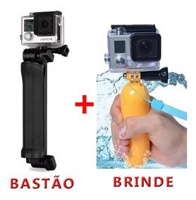 Kit Bastão Go Pro Hero Dobrável 3 Way Boia Alça Gopro