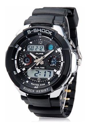 Relógio Alike S-shock Led Resistente Água Analógico Digital