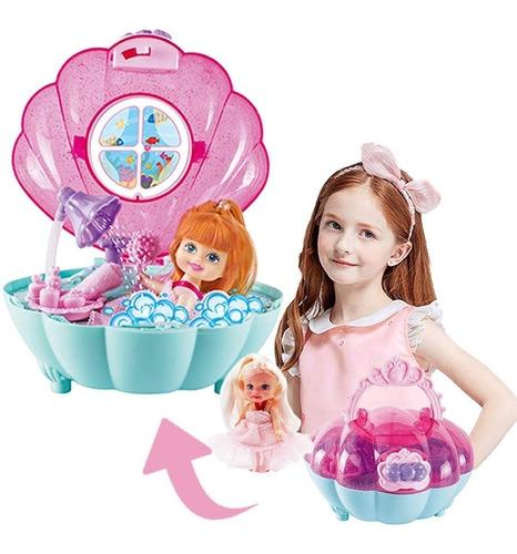 Bolso De Mano Con Baño Sirenitas Portatil Incluye 2 Muñecas