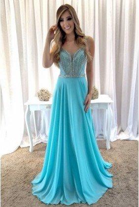 Vestido De Formatura- Azul Tifany