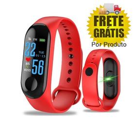 Pulseira Inteligente Fitness Monit Cardíaco Pressao Vermelho