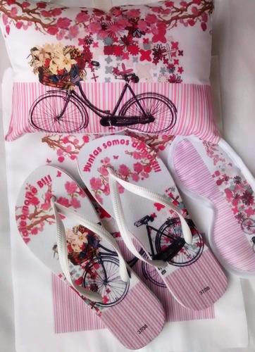 cb54d0596cd440 12 Kits Festa Do Pijama Com Chinelo+máscara+bolsa+almofada