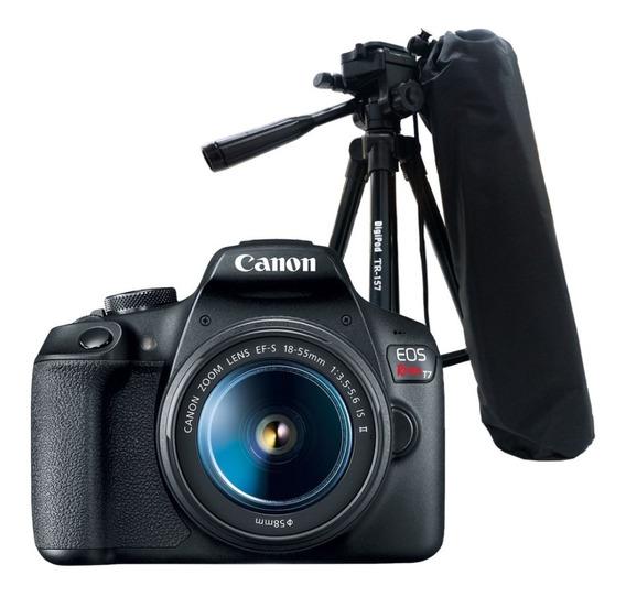 Câmera Canon Eos Rebel T7 + Bolsa + Cartão 16gb +mini Tripé