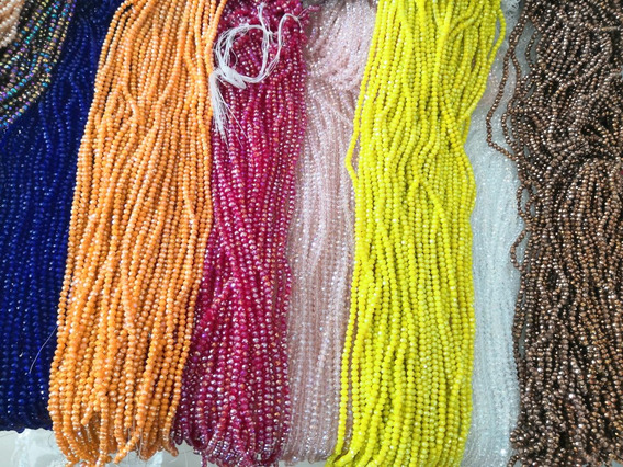 Lote De 100 Tiras Cristal Rondel 4 Mm Colores Surtidos