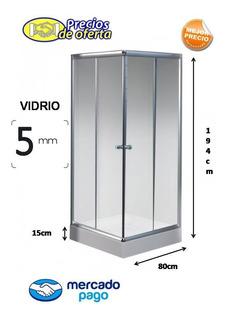 Box Cabina De Ducha 80x80 Cuadrada Vidrio 5mm + Receptaculo