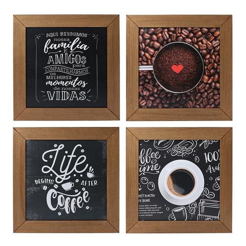 Imagem 1 de 5 de Kit 4 Quadros Decorativos Cantinho Do Café Rústico