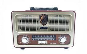 Radio Vintage Retro Recarregável Bluetooth 2580 Usb Fm Am Bg