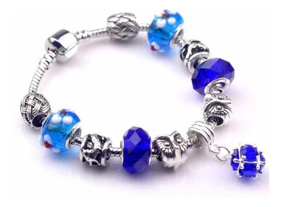 Pulseira Estilo Pandora Completa Conform Foto Azul Flor