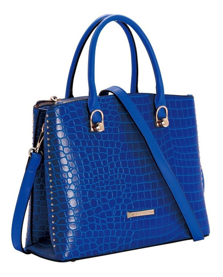 Bolsa Feminina Original De Mão Croco Deluxe Chenson Azul
