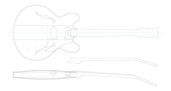 Planta Guitarra Tamanho Real Gibson Es-335