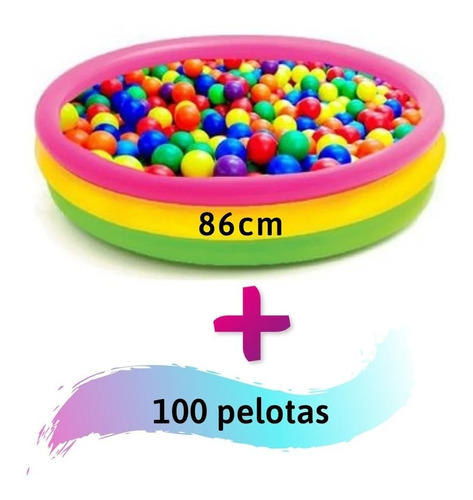 Piscina De Pelotas 86 Cm Con 100 Pelotas