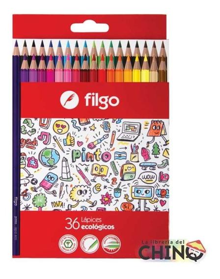 Lapices De Color Pinturitas Filgo X 36 En Estuche De Carton