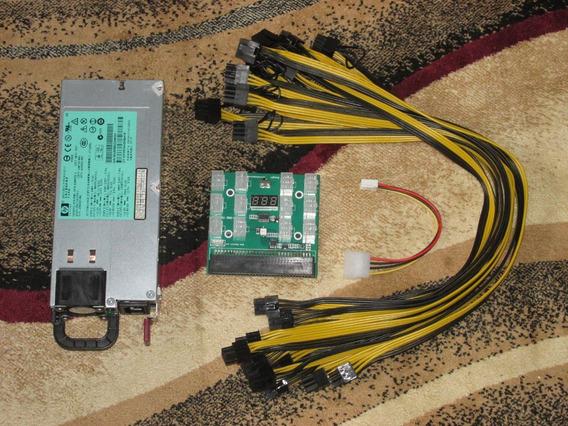 Fonte Mineracao 1200w Silver+kit De Cabos Pci-e. Rig,riser
