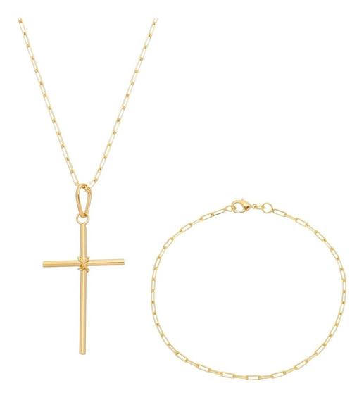 Corrente Cordão 80cm Pulseira 21cm E Crucifixo Banhada Ouro