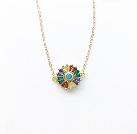 Collar Circulo Con Zirconia De Colores Chapa De Oro 18k