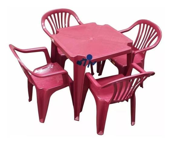 Conjunto Mesa E 4 Cadeiras Poltrona 1 Jogo