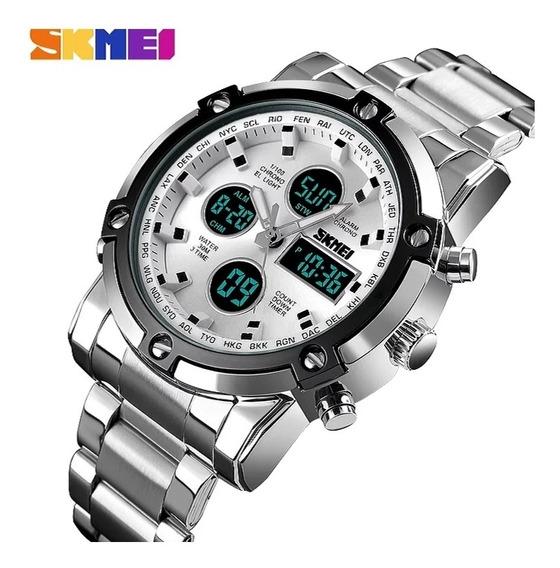 Relógio Masculino Skmei Dual Time Prata C\branco Fret Grátis