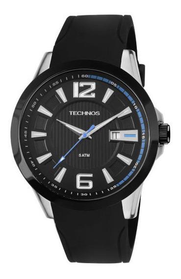 Relógio Technos Masculino Prata Azul Silicone 2115knw/8p