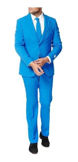 Terno Masculino Slim Microfibra Azul Celeste Calça+blazer