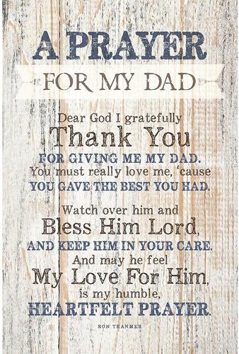 Imagen 1 de 8 de Placa De Madera De Oracion Con Cita Inspiradora Para Papa -