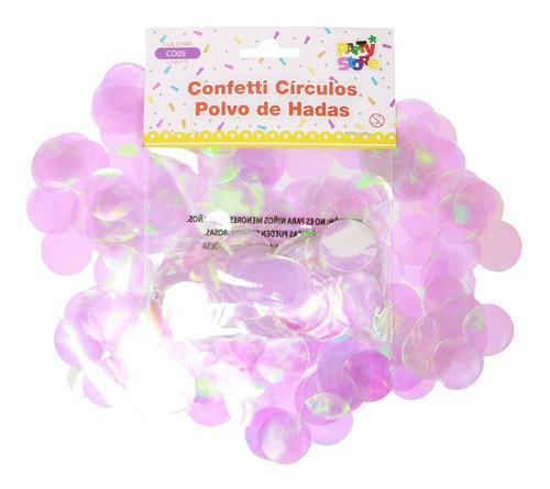 Confetti Papelitos Globos Iridiscente Circulo Papel Cotillon