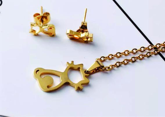 Colar+brinco Gatinho Aço Inox Hipoalégico Banhado A Ouro