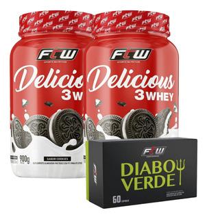 2x Delicious Whey Ftw 900g - Diabo Verde Ftw 60 Caps