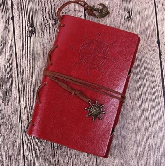 Diário Envelhecido Retrô Vintage Antigo Vermelho Sketchbook