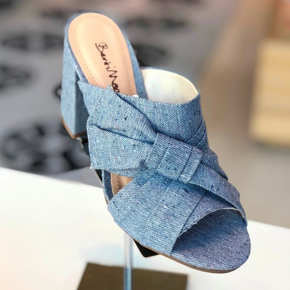 Mule Berti Maria Azul Jeans Salto Alto - Verão 20 - Loja B M