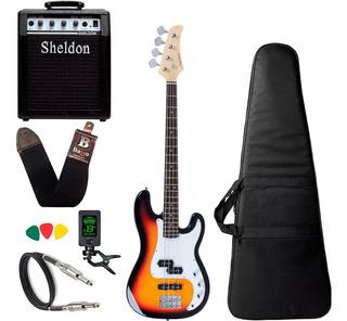 Kit Baixo Strinberg Pbs40 Sunburst Precision + Amplificador