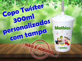 40 Copos Twister 300ml Com Tampa Chaves