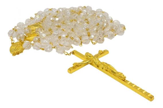 Terço Casamento Contas Transparentes Crucifixo Dourado 80cm