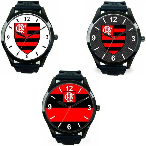 Kit 3 Relógios Pulso Barato Esportivo Torcedor Flamenguista