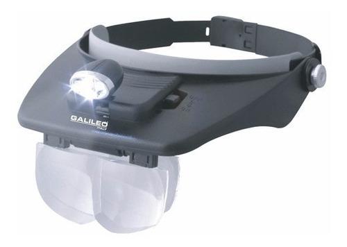 Imagen 1 de 6 de Lupa Binocular Galileo Manos Libres Luz Triple Led Vincha