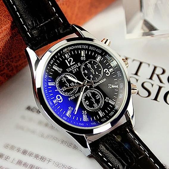 Relógio Importado Masculino Social Pulseira Couro Yazole
