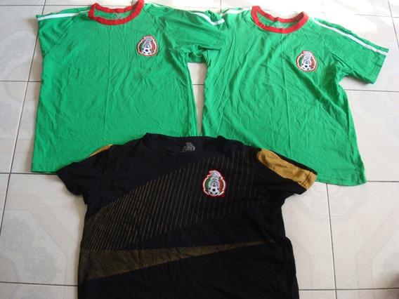 3 Playeras Seleccion Mexicana De Fut. Talla Eg 42 Precio X 3