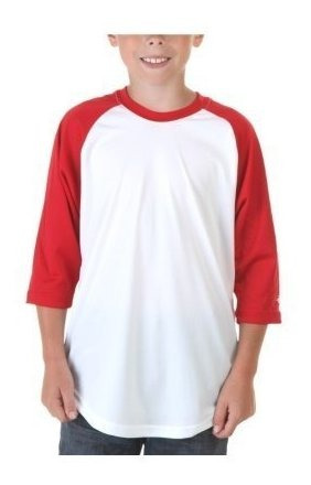 Mangas Raglán 3/4 De Augusta-baseball Jersey ~ Blanco /rojo
