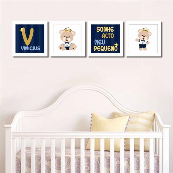 Trio Quadro Infantil Urso Principe Quarto Bebe Menino