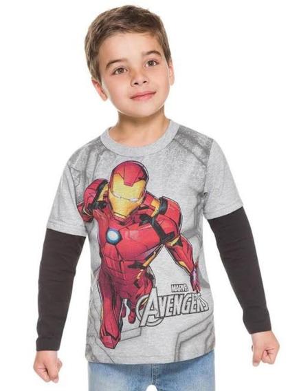 Camiseta Masculina Brandili Manga Longa Homem De Ferro