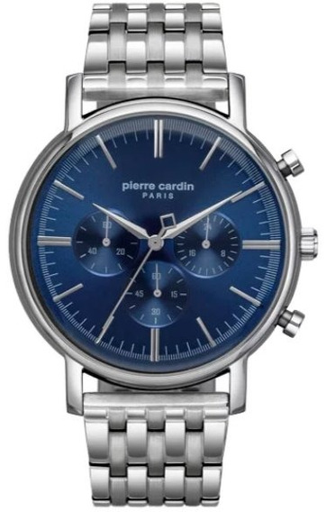 Reloj Pierre Cardin A.pc902371f05 Plateado Azul Crono Hombre