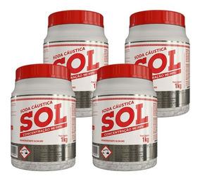 Kit 4 - Soda Cáustica Sol 1kg Com Concentração 96% A 99%