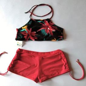 Conjunto De Biquíni Shortinho Sunkini Com Top Cropped