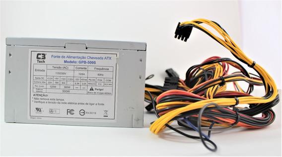 Fonte Chaveada Atx 500w C3 Tech Gpb-500s 24 Pinos Semi Nova