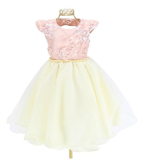 Vestido Infantil Luxo Rosê Champanhe Flor Festa Casamento