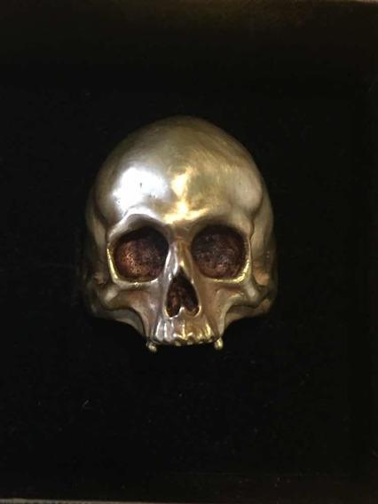 Anel Masculino Caveira Skull Em Ouro 18k Maciço 30g