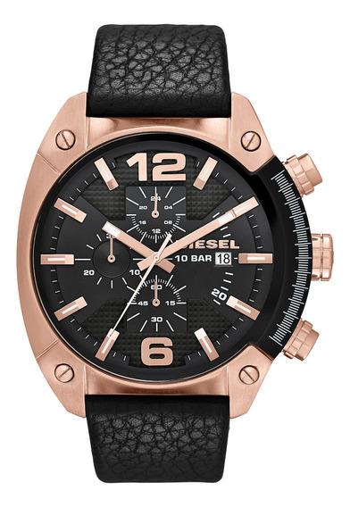 Relógio Diesel Masculino Dz42972p Pulseira Couro Fundo Preto