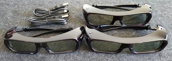 Kit Com 3 Oculos 3d Ativos Sony Tdg-br250 -cabos Usb/manual